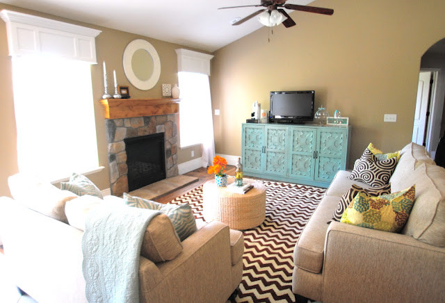 Downeast Furniture for Eclectic Family Room with Blue Credenza