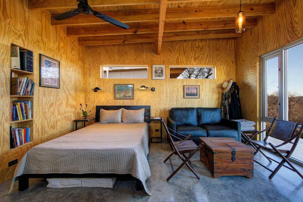 Drywall Alternatives for Industrial Bedroom with Built in Bookshelf