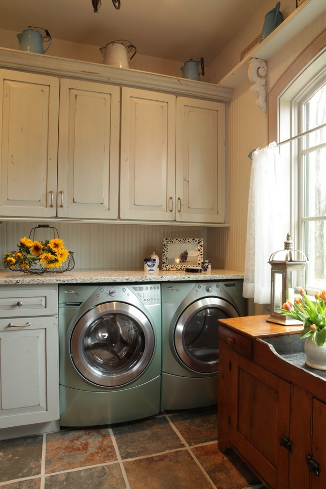 Dura Supreme Cabinets for Rustic Laundry Room with Bead Board Walls