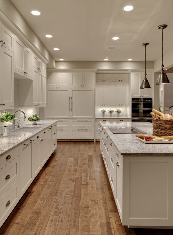 Engineered Hardwood vs Laminate for Transitional Kitchen with Concetto Grohe