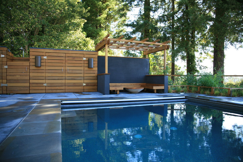 Farmington Valley Equipment for Modern Pool with Garden Storage