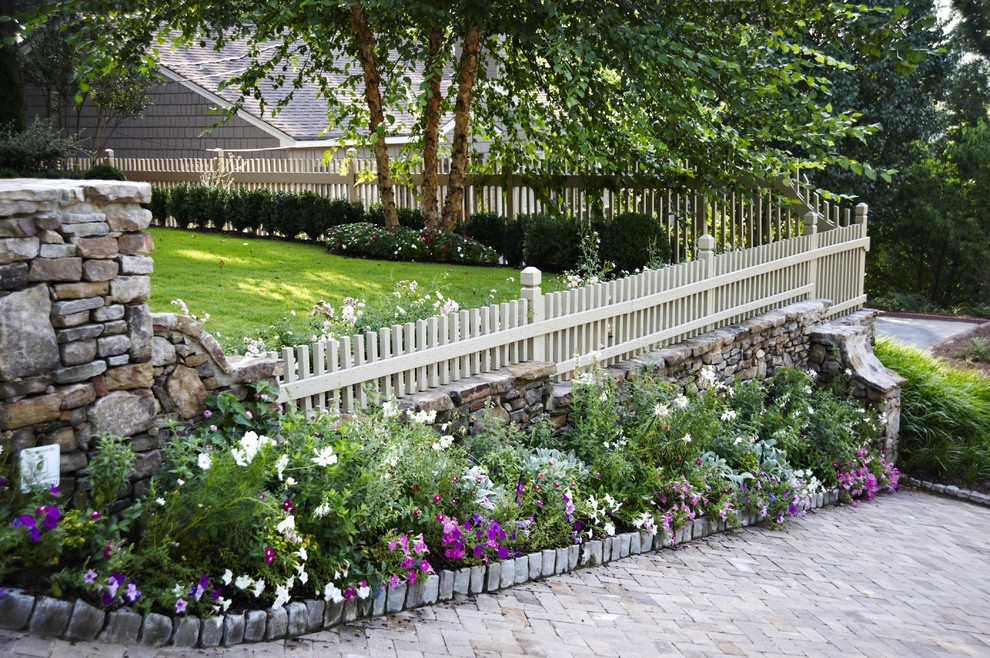 Fenceworks for Traditional Landscape with Purple Groundcover