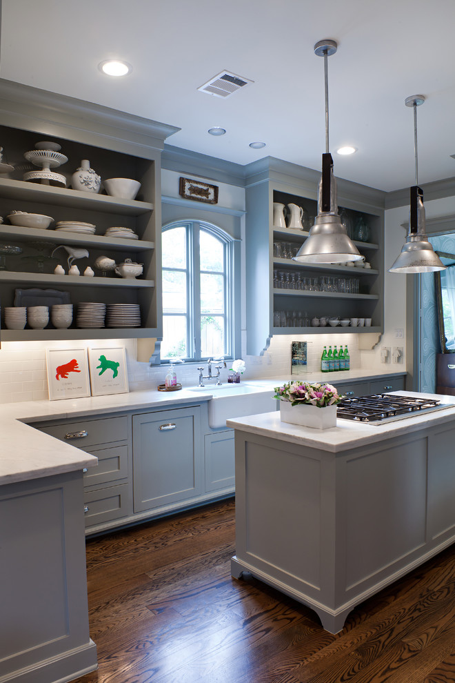 Fieldstone Cabinets for Transitional Kitchen with Marble