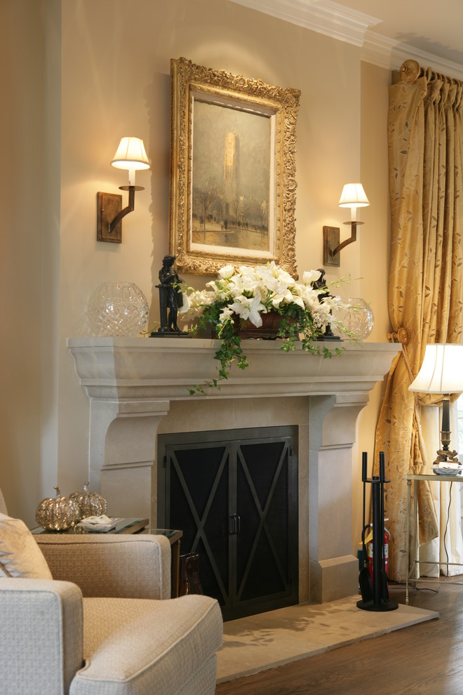 Fireplace Mantel Decorating Ideas for Traditional Bedroom with Curtains