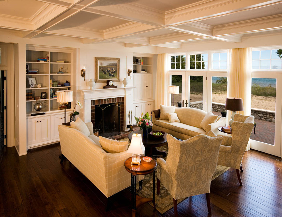 Fireside Furniture for Traditional Living Room with French Doors