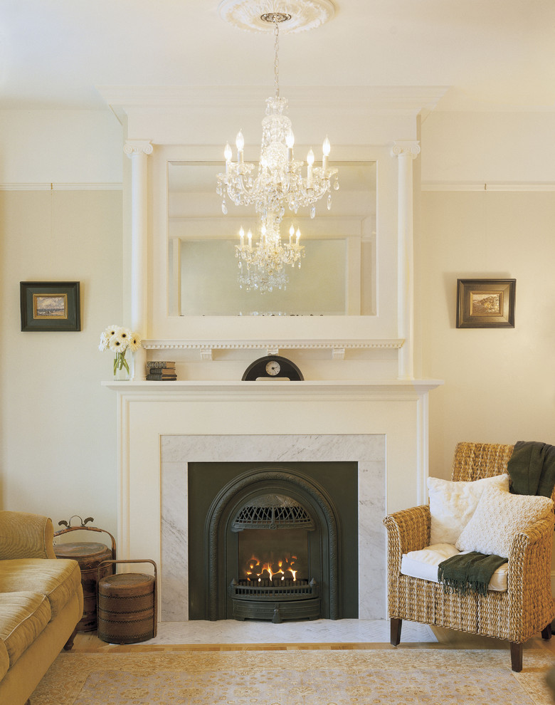 Fireside Portland for Victorian Living Room with Wicker Chair