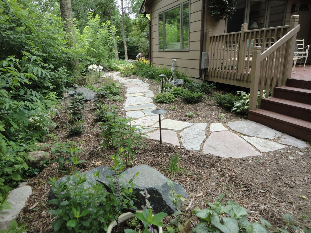 Flagstone Path for Traditional Landscape with Shade Garden