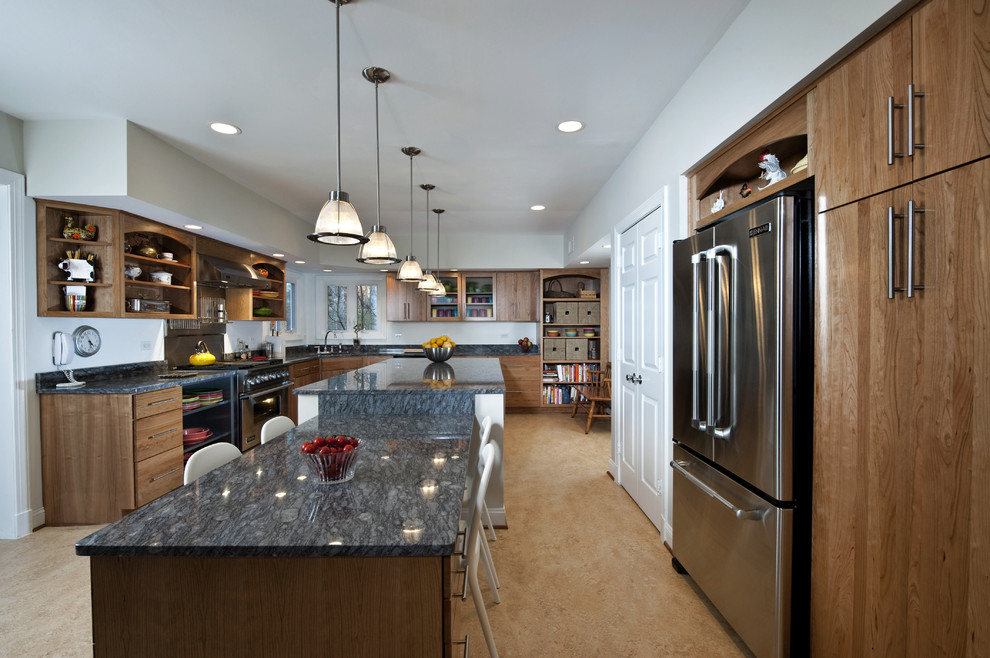 Forbo Flooring for Contemporary Kitchen with Corner Sink