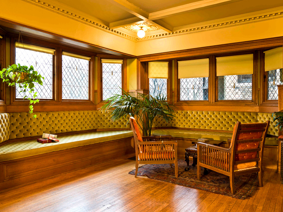 Frank Lloyd Wright Falling Water for Victorian Living Room with Wood Floors