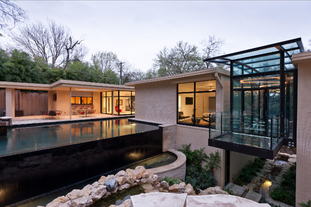 Frank Lloyd Wright Phoenix for Modern Exterior with Sliding Glass Doors