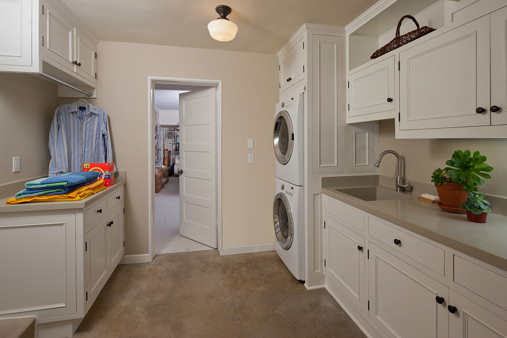 Gas Dryer vs Electric for Traditional Laundry Room with Built in Storage