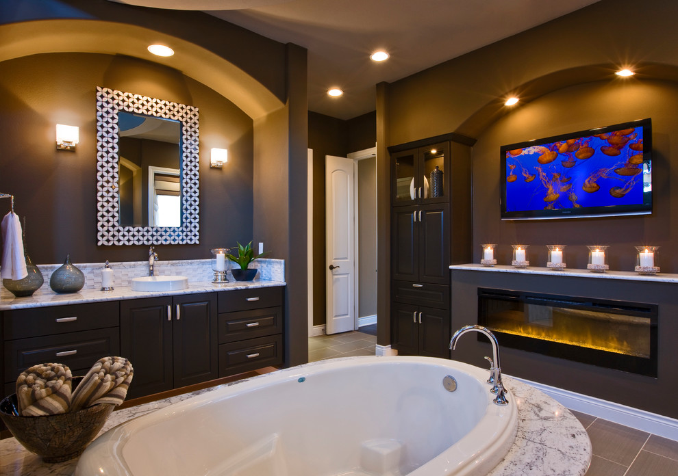 Gas vs Electric Stove for Contemporary Bathroom with Fireplace