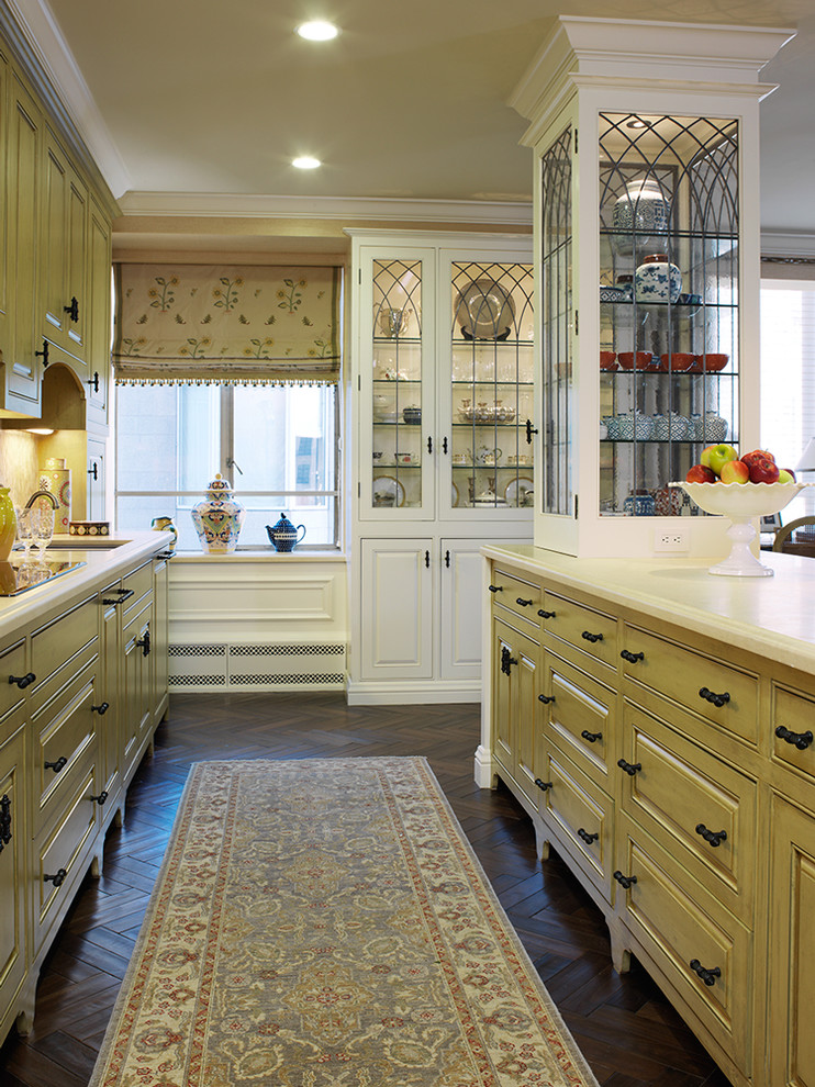 Gothic Cabinet for Traditional Kitchen with Roman Shades