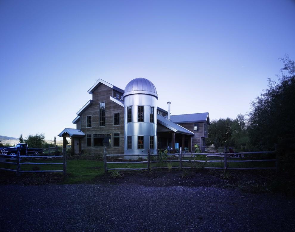 Grain Silo Homes for Farmhouse Exterior with Split Rail Fence