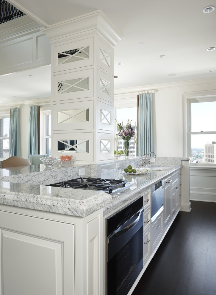 Granite Countertop Edges for Transitional Kitchen with Crown Molding