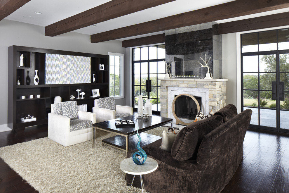 Greige Color for Contemporary Living Room with Contemporary