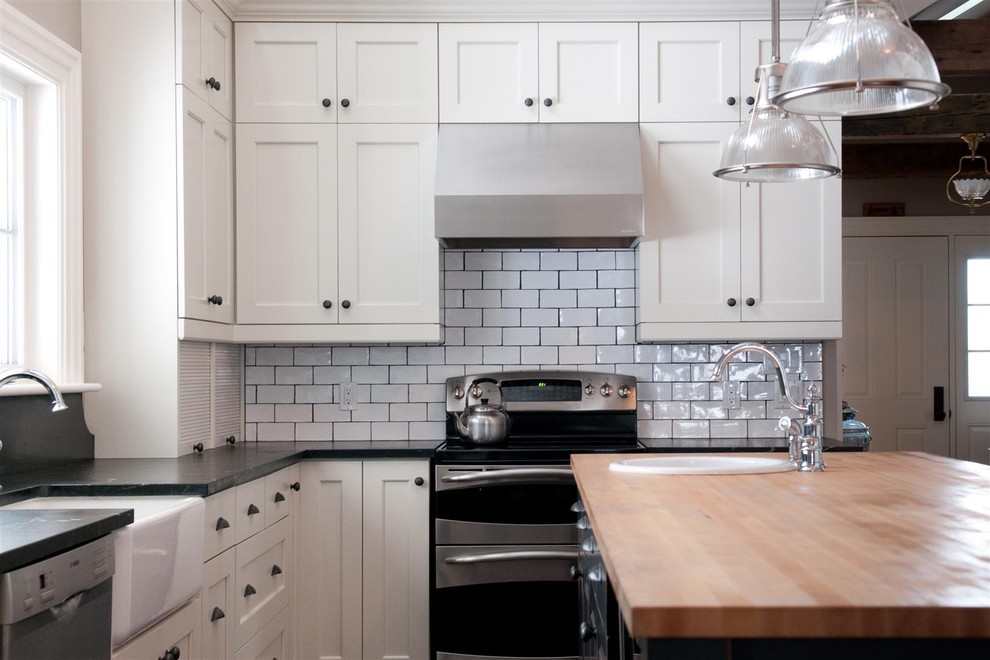 Grouting Tile for Traditional Kitchen with Butcher Block