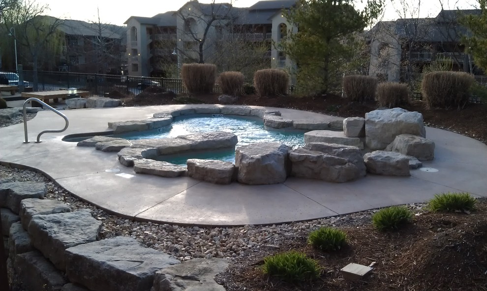 Grove Spa Springfield Mo for Rustic Pool with Concrete Spa