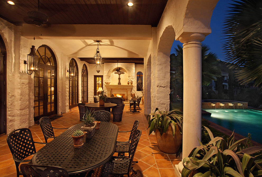 Hacienda Lighting for Mediterranean Porch with Columns
