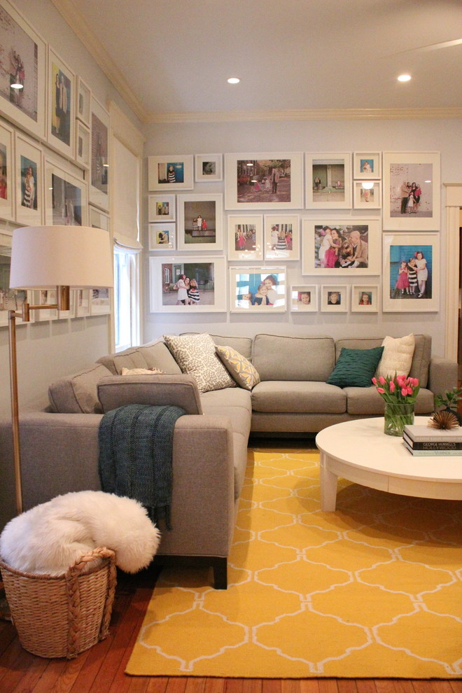 Helping Hands Richmond for Transitional Living Room with Photo Gallery Wall