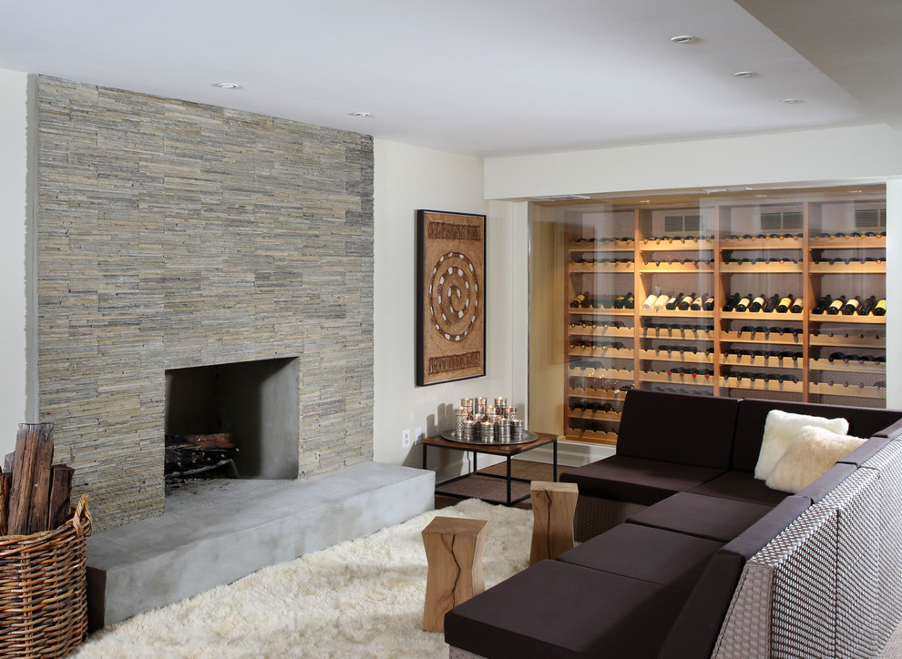Heritage Wine Cellars for Contemporary Basement with Wicker Basket