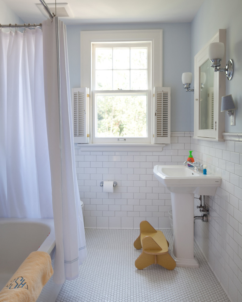 How to Clean Grout on Tile Floor for Traditional Bathroom with White Tile
