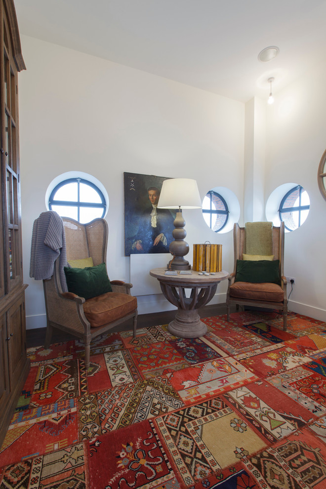 How to Clean Shag Rug for Eclectic Home Office with Velvet Pillows