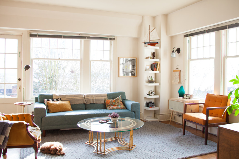 How to Get Rid of Cat Spray Smell for Eclectic Living Room with Knit Rug
