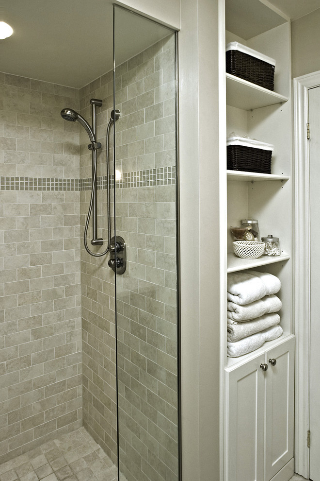 How to Install Porcelain Tile for Traditional Bathroom with Storage Baskets