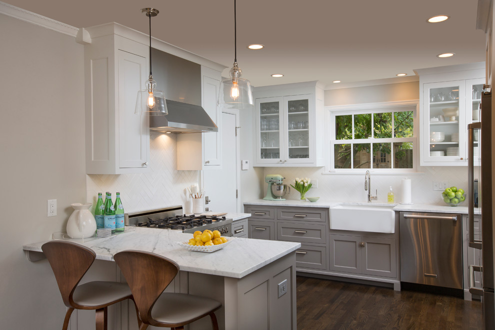 Huppe for Transitional Kitchen with White Upper Cabinet