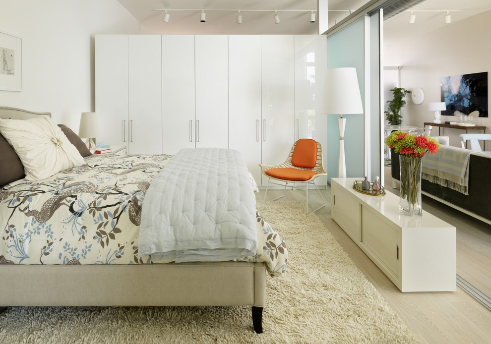 Ikea Pax Wardrobe for Scandinavian Bedroom with Room Divider