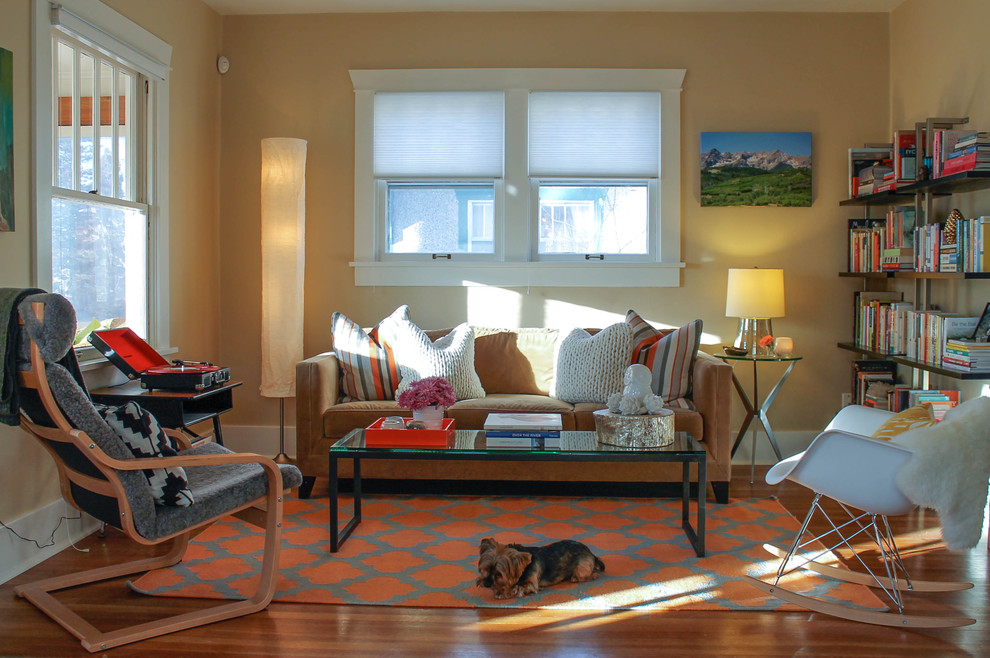Ikea Poang for Eclectic Living Room with Rocking Chair