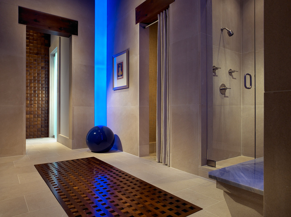 Indiana Limestone for Contemporary Bathroom with Floor Tile Design