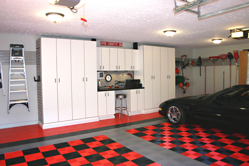 j&k Cabinets for Traditional Garage with Gray Garage Floor