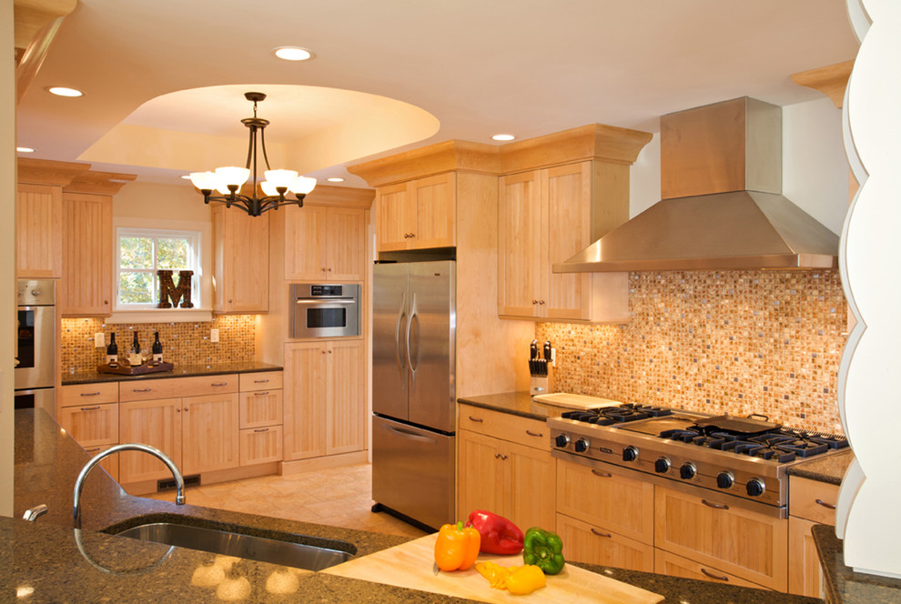 Kam Appliance for Beach Style Kitchen with Light Wood Cabinets