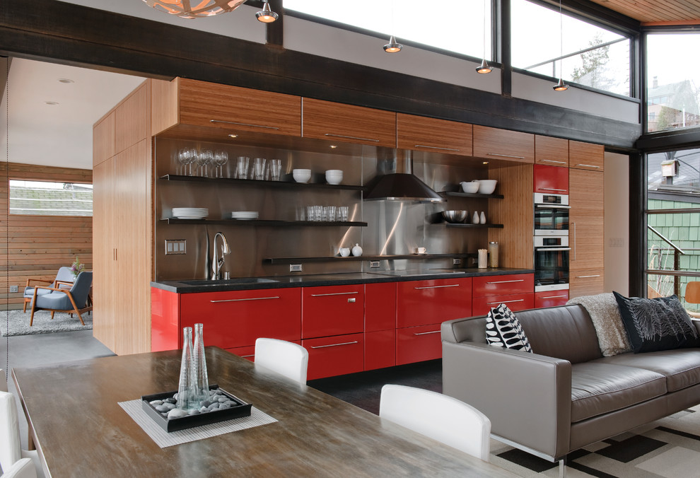 Kodiak Steel Homes for Industrial Kitchen with High Gloss Red Cabinets