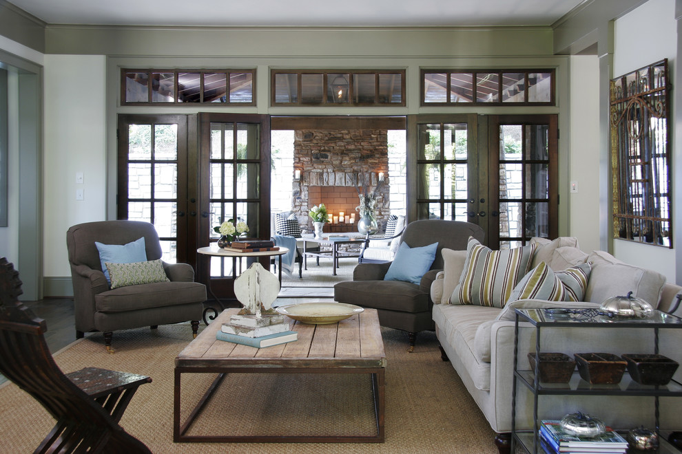 Koehler Home Decor for Traditional Family Room with French Doors