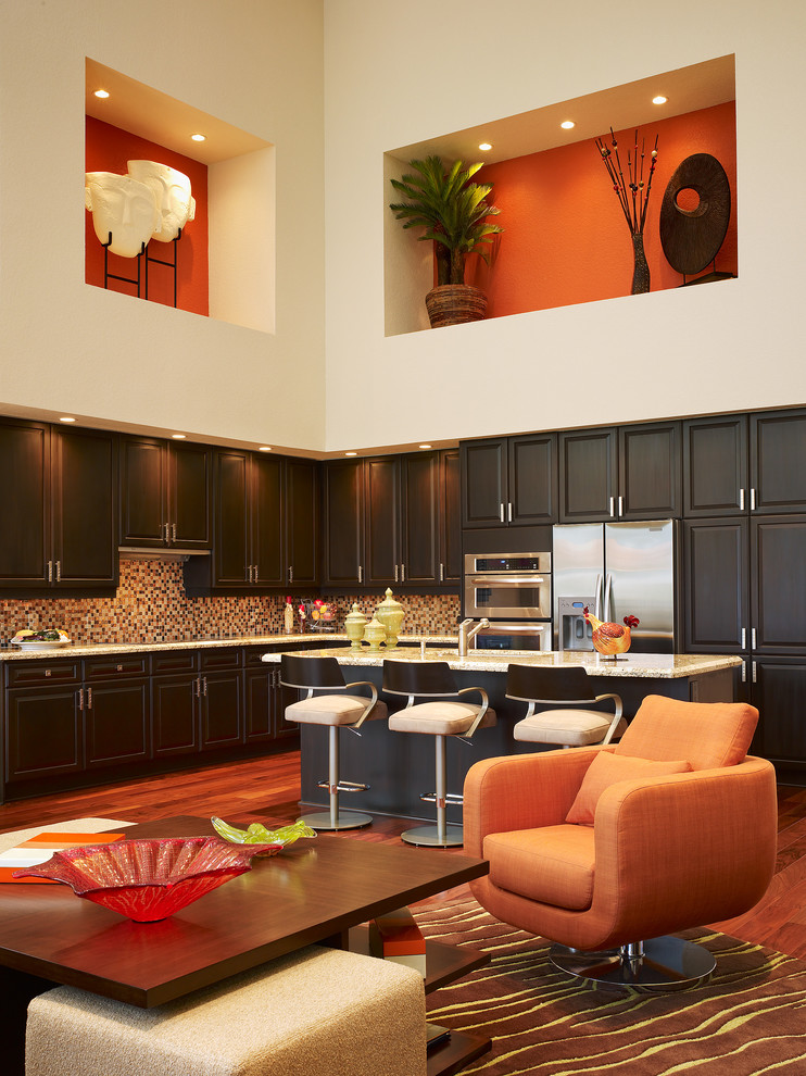 Lachance Furniture for Contemporary Kitchen with Dark Wood Cabinets