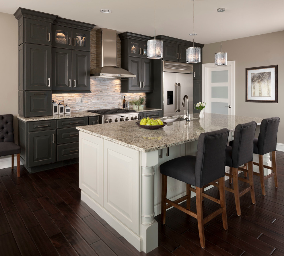 Lacy Bella Designs for Transitional Kitchen with Gray and White
