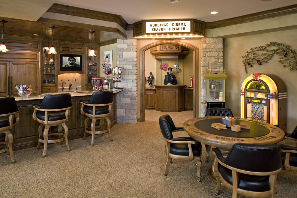 Lake Oswego Theater for Traditional Home Theater with Barstools