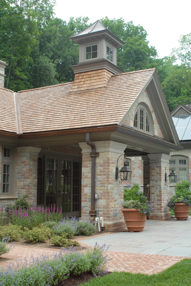 Lantern and Scroll for Traditional Exterior with Landscaping