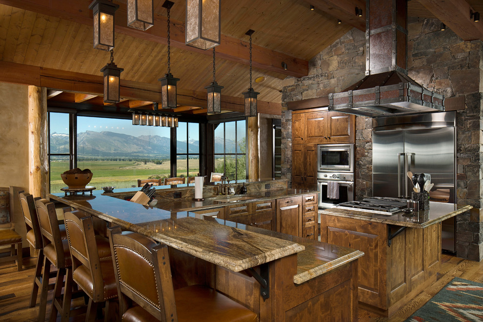 Lapidus Granite for Rustic Kitchen with Mountain View