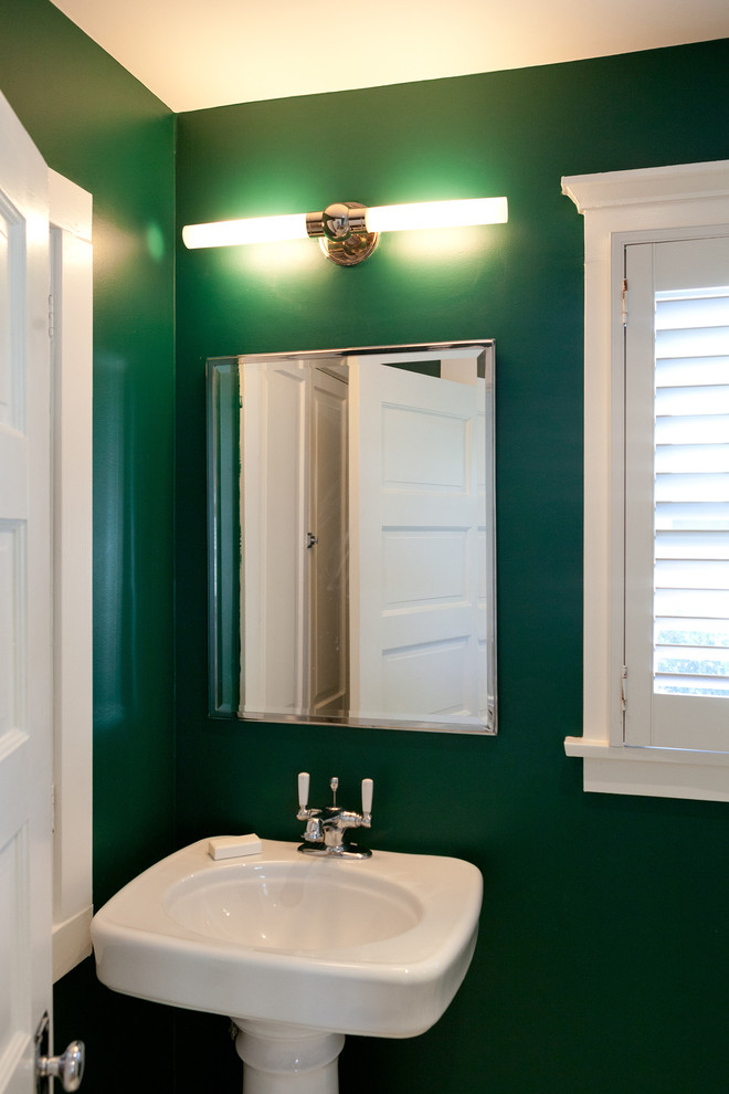 Larchmont Bungalow for Traditional Powder Room with Green