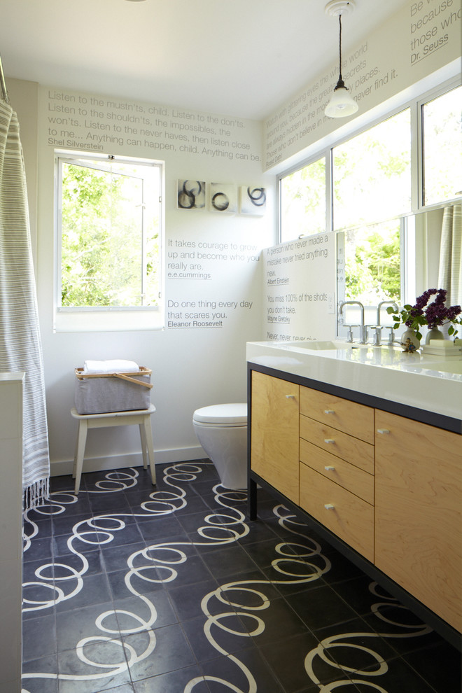 Linoleum vs Vinyl for Contemporary Bathroom with Curtain Panel