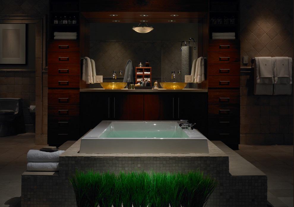 Lutron Electronics for Contemporary Bathroom with Master Suite