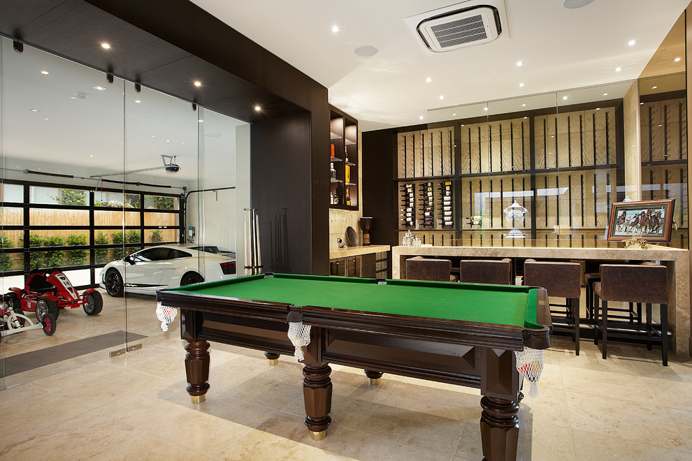 Mancaves for Contemporary Living Room with Travertine Stone Tile Floors