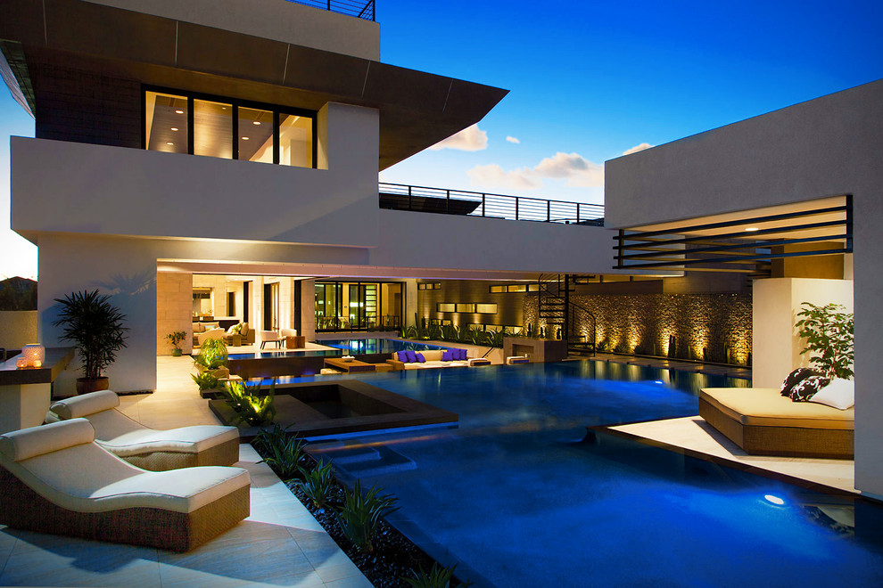 Marquis Furniture for Contemporary Pool with Luxury Home