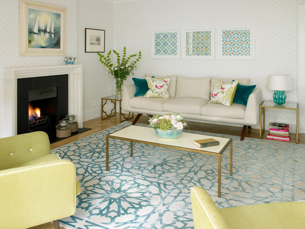 Martyn Lawrence Bullard for Contemporary Living Room with Fireplace