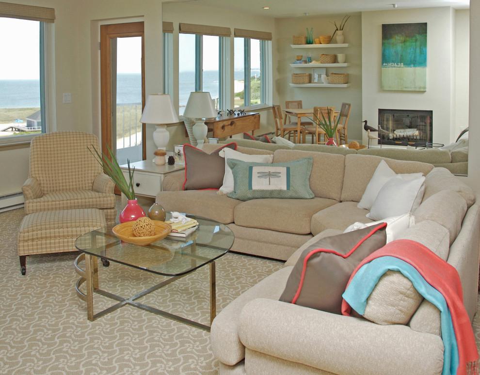 Masland Carpet for Traditional Living Room with Floating Shelves