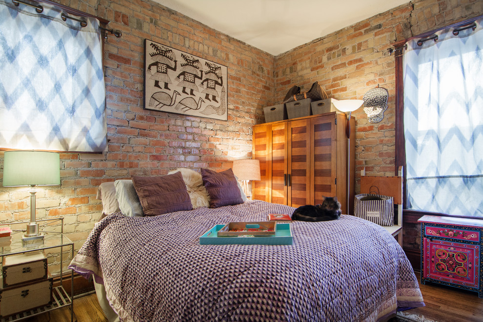 Mayan Hardwood for Eclectic Bedroom with Window Covering